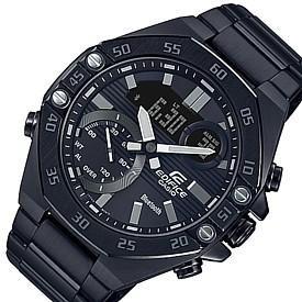 CASIO/EDIFICE【カシオ/エディフィス】メンズ腕時計 アナデジ クロノグラフ スマートフォンリンク ブラックメタルベルト 海外モデル【並行輸入品】ECB-10DC-1A
