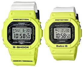 CASIO/G-SHOCK/Baby-G【カシオ/Gショック/ベビーG】ペアウォッチ 腕時計 ライトニングボルト イエロー/ホワイト(国内正規品)DW-5600TGA-9JF/BGD-560TG-9JF