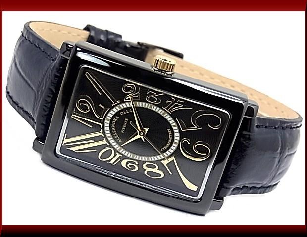 ALESSANDRA OLLA pair watch watch black / gold clockface black leather belt AO-4500B-BG/AO-1500B-18BG