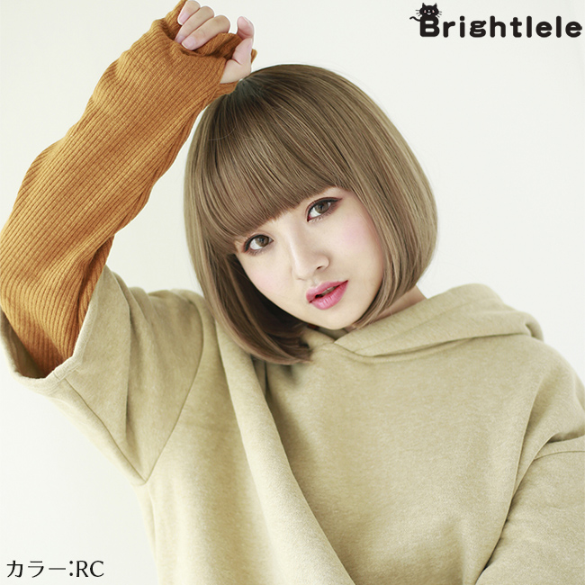 """Wig Bob full wig short """"caramel tops Bob"""" wig gradation wig two ton natural short wig extension small face cute Lady's wig reckoning hair costume play Harajuku グラデメッシュミディアム wedding ceremony party Halloween"""