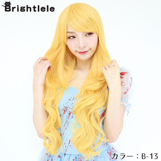 For cosplay costume wig long full wig wave Halloween 30 colors, color wig appeared wig semi-long extensions Carl face cute women's Hara-Juku gradient mesh costume fancy dress party