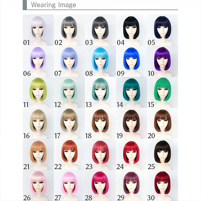 For cosplay costume wigs Bob full wig short Halloween 30 colors, color wig appeared wig short wig Bob extensions Carl face cute women's Hara-Juku gradient mesh costume fancy dress party