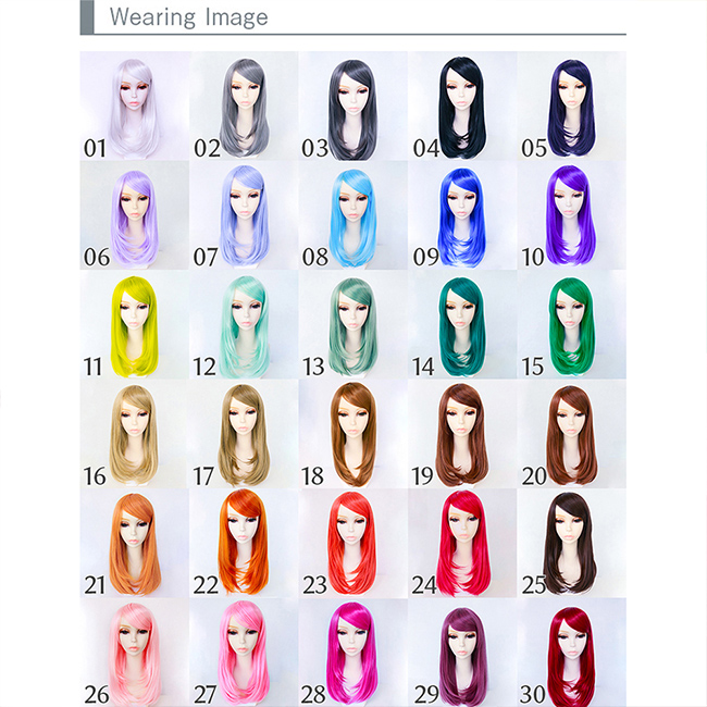 For cosplay costume wig long full wig Halloween 30 colors, color wig appeared wig semi-long medium women's Hara-Juku gradation extensions Carl face cute mesh costume fancy dress party