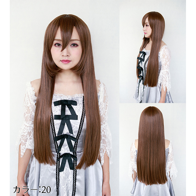 For cosplay costume wig long full wig straight Halloween 30 colors, color wig appeared wig semi-long extensions Carl face cute women's Hara-Juku gradient mesh costume fancy dress party