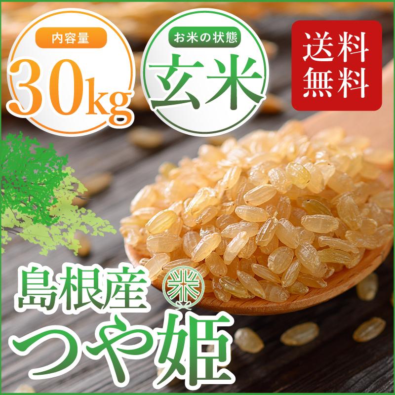 玄米 特別栽培米 島根県産つや姫30年 1等 玄米30kg 送料無料(但し 北海道・沖縄・離島を除く)