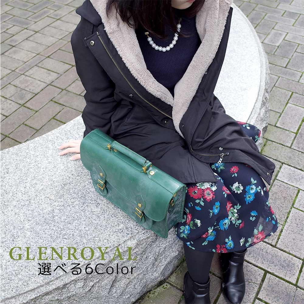 グレンロイヤル GLENROYAL サッチェルバッグ メンズ レディース 02-6026BLK 02-6026BRD 02-6026BTG 02-6026CIG 02-6026OXT 02-6026TAU