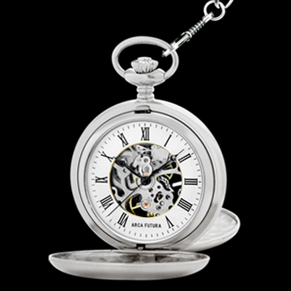 アルカフトゥーラ ARCA FUTURA 手巻き メンズ スケルトン 懐中時計 56528CPSK ホワイト/シルバー
