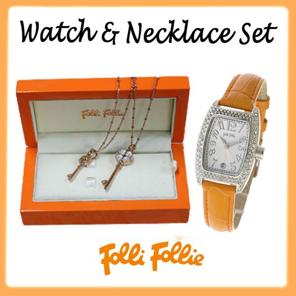 11/1までエントリーで全品P20倍 【セットアイテム】フォリフォリ FOLLI FOLLIE ジルコニア付 腕時計×ネックレスセット S922ZI-SV-OR JS1T016RC