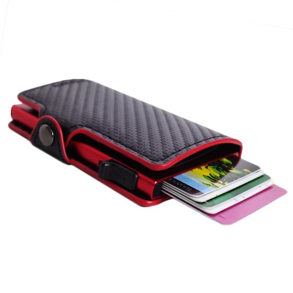 鈴堂 りんどう カードケース スマートウォレット メンズ FD08CB-RED CASAKEY ブラック レッド