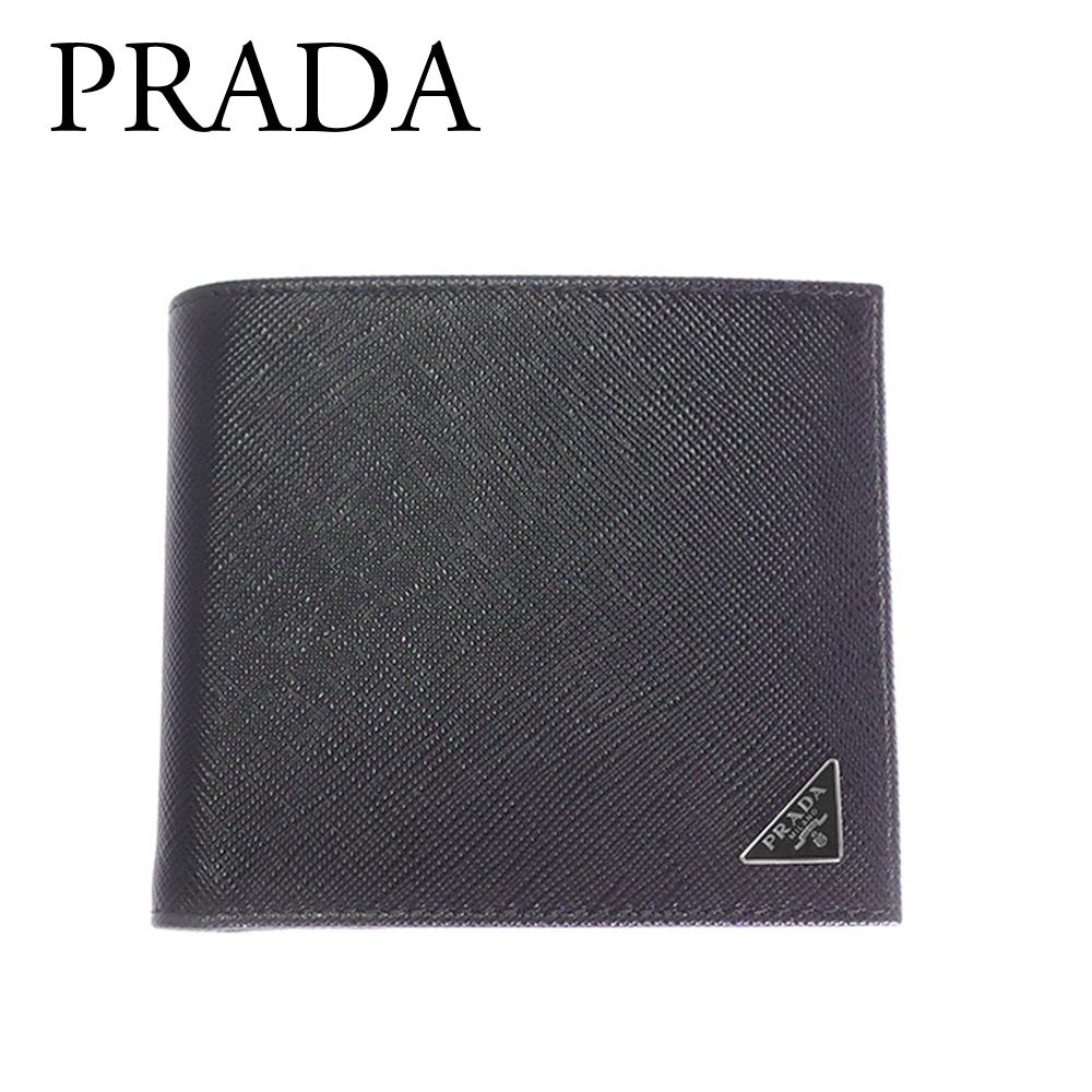 プラダ 財布 メンズ 二つ折り 短財布 PRADA 2MO738 QHH F0002 SAFFIANO TRIANG NERO ブラック