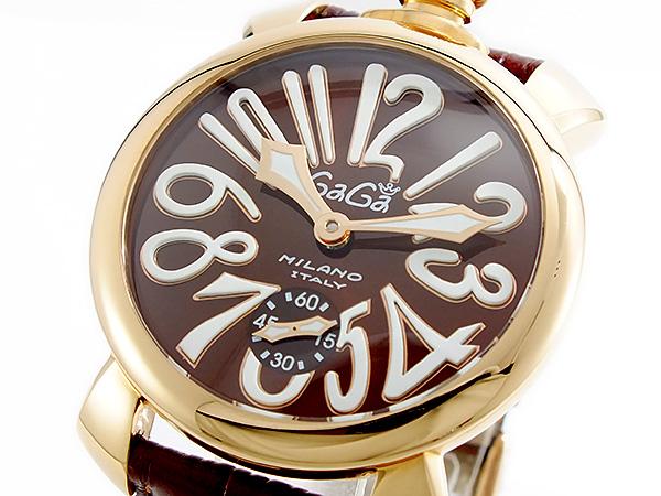 11/1までエントリーで全品P20倍 ガガミラノ GAGA MILANO MANUALE 手巻 メンズ 腕時計 5011-01S-BRW