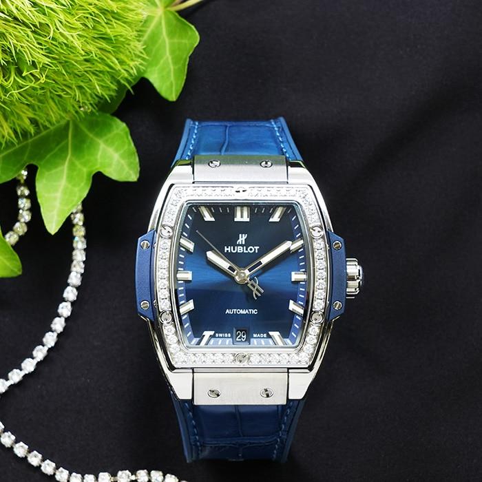 ウブロ スピリット オブ ビッグ・バン チタニウム ダイヤモンド 665.NX.7170.LR.1204 HUBLOT 新品レディース 腕時計 送料無料