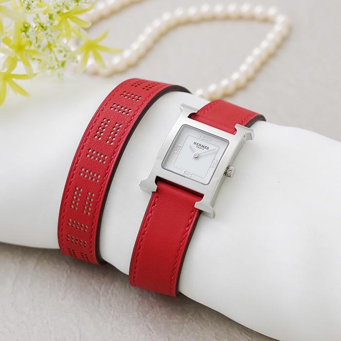 エルメス Hウォッチ ドゥブルトゥール HH1.210 W049191WW00 ルージュ・ヴァーミリオン HERMES 新品レディース 腕時計 送料無料:レディース腕時計専門店BRILLER