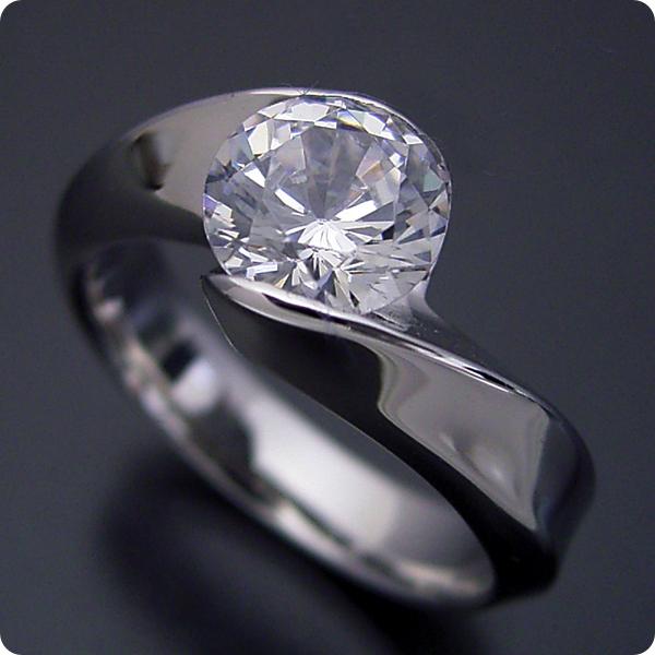 1カラット 婚約指輪 50万円 1ct プラチナ ダイヤモンド プロポーズ ジュエリー プレゼント ブライダル 結婚指輪 マリッジリング エンゲージリング Hカラー-SI2クラス 宝石鑑定書付き 受注生産 1カラット版:面がシャキッとして硬質な婚約指輪