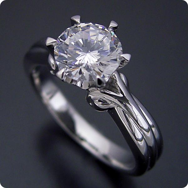 1カラット 婚約指輪 50万円 1ct プラチナ ダイヤモンド プロポーズ ジュエリー プレゼント ブライダル 結婚指輪 マリッジリング エンゲージリング Hカラー-SI2クラス 宝石鑑定書付き 受注生産 1カラット版:アームの処理が新しい婚約指輪