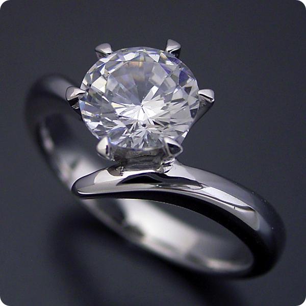 1カラット 婚約指輪 50万円 1ct プラチナ ダイヤモンド プロポーズ ジュエリー プレゼント ブライダル 結婚指輪 マリッジリング エンゲージリング Hカラー-SI2クラス 宝石鑑定書付き 受注生産 1カラット版:6本爪Vラインタイプの婚約指輪