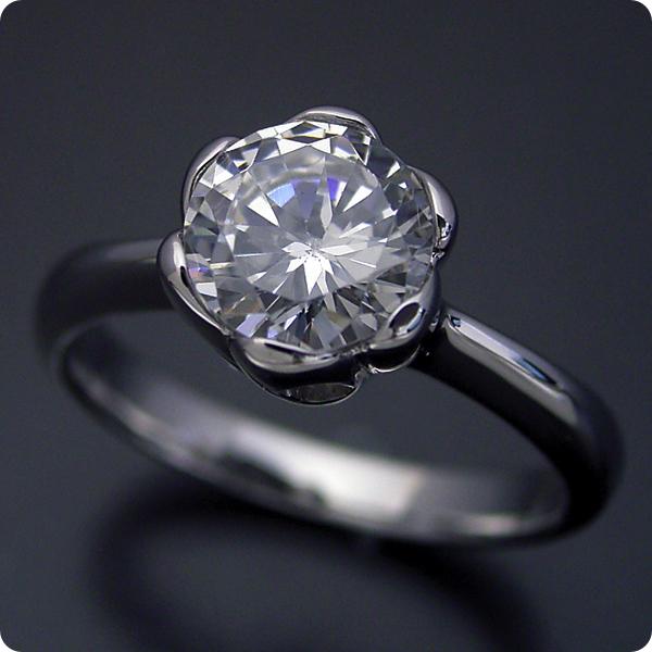 1カラット 婚約指輪 50万円 1ct プラチナ ダイヤモンド プロポーズ ジュエリー プレゼント ブライダル 結婚指輪 マリッジリング エンゲージリング Hカラー-SI2クラス 宝石鑑定書付き 受注生産 1カラット版:フラワーデザイン伏せこみタイプの婚約指輪
