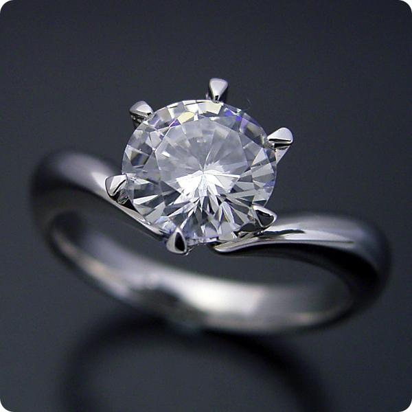 1カラット 婚約指輪 50万円 1ct プラチナ ダイヤモンド プロポーズ ジュエリー プレゼント ブライダル 結婚指輪 マリッジリング エンゲージリング Hカラー-SI2クラス 宝石鑑定書付き 受注生産 1カラット版:6本爪Vラインデザインの婚約指輪