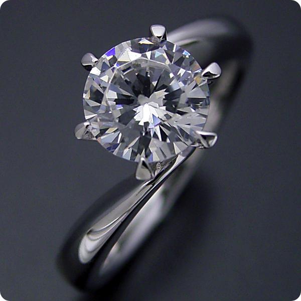 1カラット 婚約指輪 50万円 1ct プラチナ ダイヤモンド プロポーズ ジュエリー プレゼント ブライダル 結婚指輪 マリッジリング エンゲージリング Hカラー-SI2クラス 宝石鑑定書付き 受注生産 1カラット版:流れるデザインの6本爪タイプの婚約指輪
