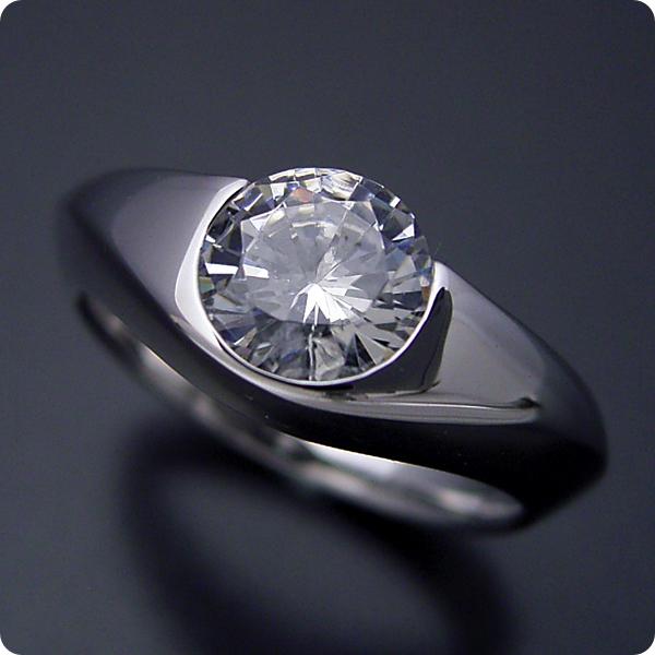 100万円 婚約指輪 1カラット エンゲージリング 1ctダイヤモンド プロポーズ用 ブライダルジュエリー プラチナ 1カラット版:少し変わった伏せこみタイプの婚約指輪 Gカラー・VS2クラス・Goodカット 宝石鑑定書付き