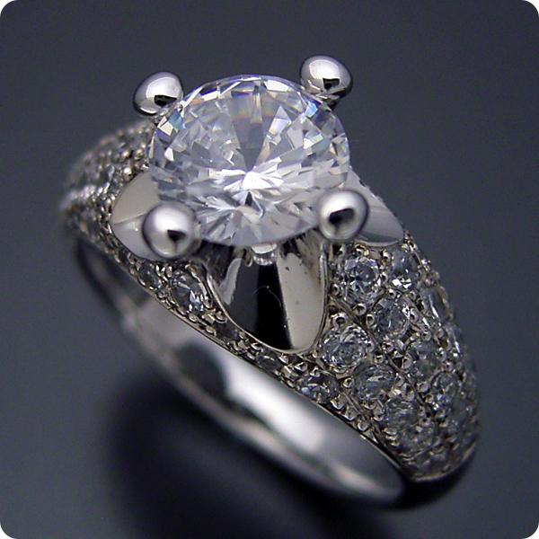 100万円 婚約指輪 1カラット エンゲージリング 1ctダイヤモンド プロポーズ用 ブライダルジュエリー プラチナ 1カラット版:柔らかい印象の可愛い婚約指輪 Gカラー・Si1クラス・Goodカット 宝石鑑定書付き