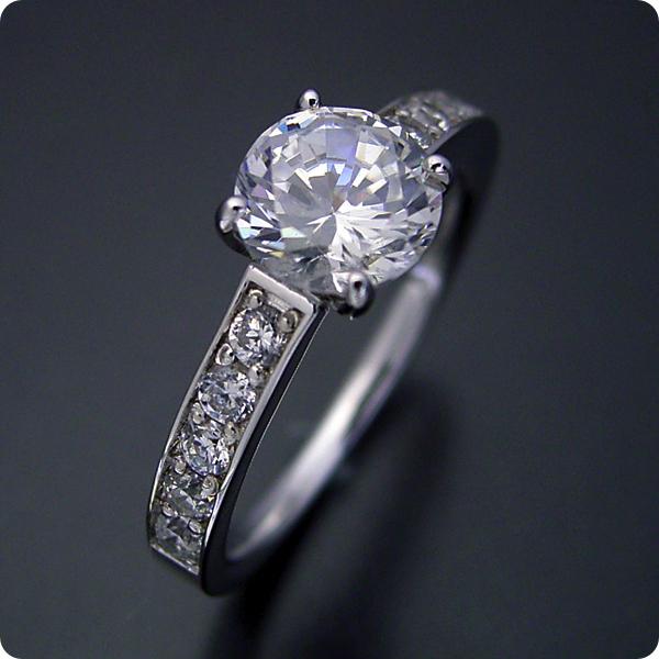 100万円 婚約指輪 1カラット エンゲージリング 1ctダイヤモンド プロポーズ用 ブライダルジュエリー プラチナ 1カラット版:ブランドジュエリーのエンゲージリングのような婚約指輪 Gカラー・Si1クラス・Goodカット 宝石鑑定書付き