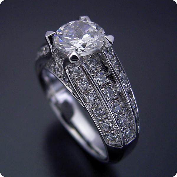 100万円 婚約指輪 1カラット エンゲージリング 1ctダイヤモンド プロポーズ用 ブライダルジュエリー プラチナ 1カラット版:物凄く豪華な「極(きわみ)」の婚約指輪 Gカラー・Si1クラス・Goodカット 宝石鑑定書付き