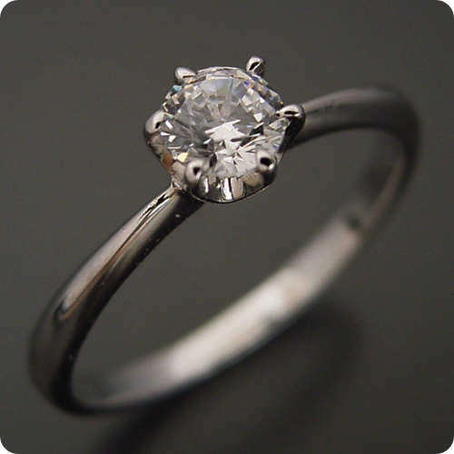 【婚約指輪】ダイヤモンド【10万円】プラチナ【エンゲージリング】受注生産品「6本爪ティファニーセッティングタイプの婚約指輪」