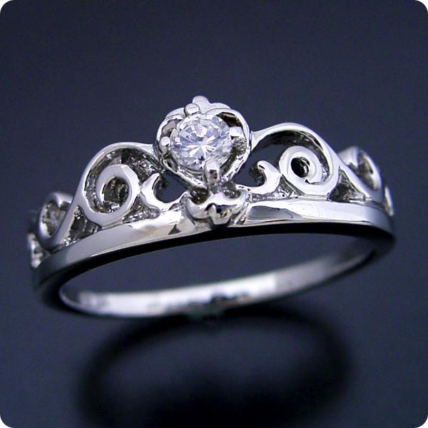 10万円 【結婚指輪】マリッジリング【0.1カラット】一粒【0.1ct】ダイヤモンド【ブライダルジュエリー】プラチナ【結婚指輪】マリッジリング【ティアラがモチーフの婚約指輪】