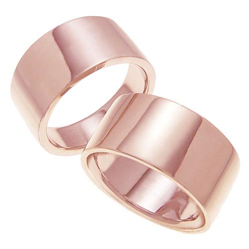ペアリング 結婚指輪 マリッジリング 平打ちリング 10ミリ K18ゴールド プロポーズ【ペアリング・平打ちリング・10mm幅・K18ピンクゴールド】