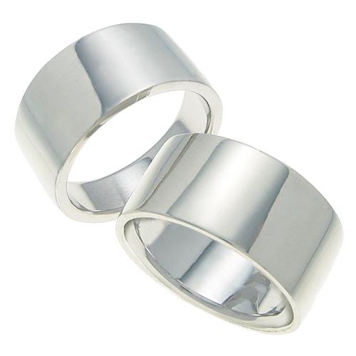 ペアリング 結婚指輪 マリッジリング 平打ちリング 10ミリ K18ホワイトゴールド プロポーズ【ペアリング・平打ちリング・10mm幅・K18ホワイトゴールド】