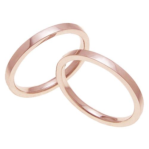 ペアリング 結婚指輪 マリッジリング 平打ちリング 2ミリ K18ゴールド プロポーズ【平打ちリング・2mm幅・K18ピンクゴールド】