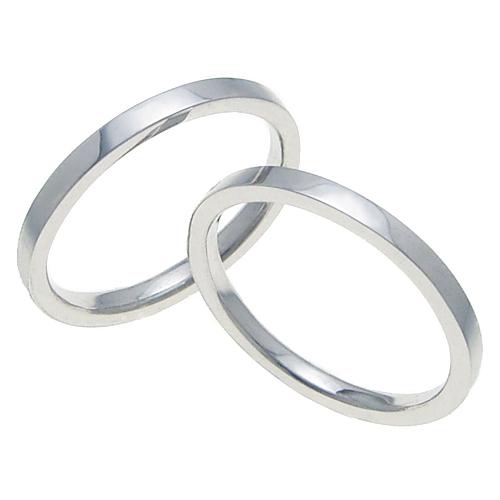 ペアリング 結婚指輪 マリッジリング 平打ちリング 2ミリ K18ホワイトゴールド プロポーズ【ペアリング・平打ちリング・2mm幅・K18ホワイトゴールド】
