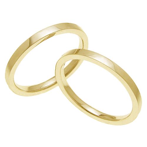 ペアリング 結婚指輪 マリッジリング 平打ちリング 2ミリ K18ゴールド プロポーズ【ペアリング・平打ちリング・2mm幅・K18ゴールド】