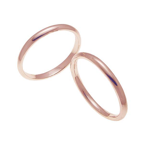 ペアリング 結婚指輪 マリッジリング 甲丸リング 2ミリ K18ゴールド プロポーズ【ペアリング 甲丸リング・2mm幅・K18ピンクゴールド】
