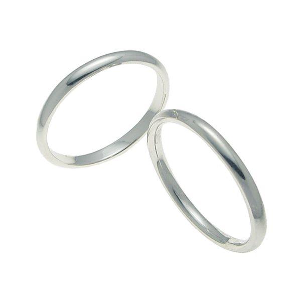 ペアリング 結婚指輪 マリッジリング 甲丸リング 2ミリ K18ホワイトゴールド プロポーズ【ペアリング 甲丸リング・2mm幅・K18ホワイトゴールド】