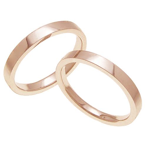 ペアリング 結婚指輪 マリッジリング 平打ちリング 3ミリ K18ゴールド プロポーズ【ペアリング・平打ちリング・3mm幅・K18ピンクゴールド】