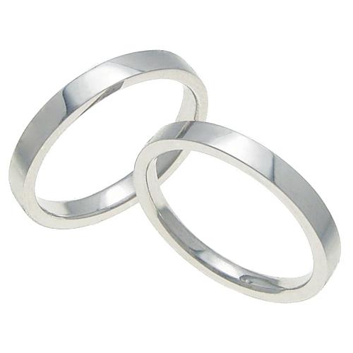 ペアリング 結婚指輪 マリッジリング 平打ちリング 3ミリ K18ホワイトゴールド プロポーズ【ペアリング・平打ちリング・3mm幅・K18ホワイトゴールド】