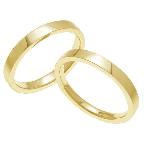 結婚指輪 マリッジリング 平打ちリング 3ミリ ペアリング K18ゴールド プロポーズ【ペアリング・平打ちリング・3mm幅・K18ゴールド】