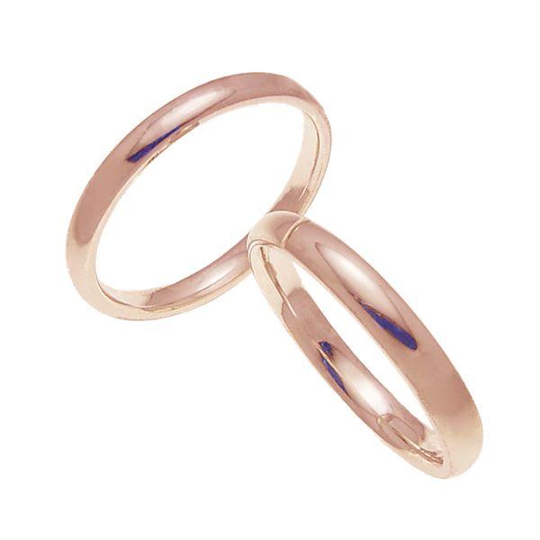 ペアリング 結婚指輪 マリッジリング 甲丸リング 3ミリ K18ゴールド プロポーズ【ペアリング・甲丸リング・3mm幅・K18ピンクゴールド】
