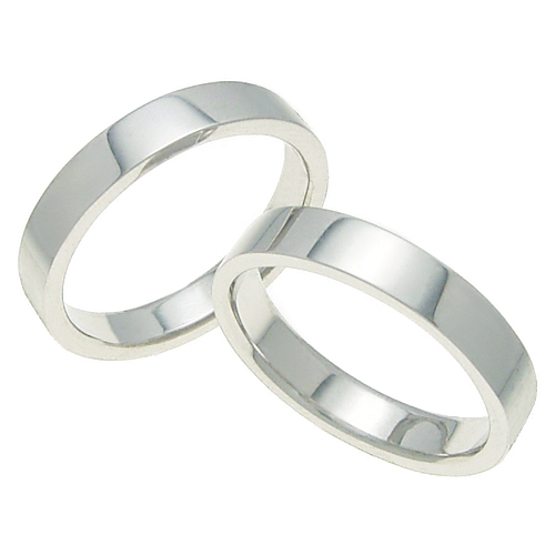 ペアリング 結婚指輪 マリッジリング 平打ちリング 4ミリ K18ホワイトゴールド プロポーズ【ペアリング・平打ちリング・4mm幅・K18ホワイトゴールド】