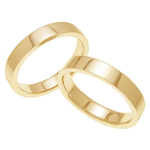 ペアリング 結婚指輪 マリッジリング 平打ちリング 4ミリ K18ゴールド プロポーズ【ペアリング・平打ちリング・4mm幅・K18ゴールド】