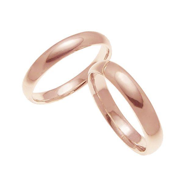 ペアリング 結婚指輪 マリッジリング 甲丸リング 4ミリ K18ゴールド プロポーズ【ペアリング・甲丸リング・4mm幅・K18ピンクゴールド】