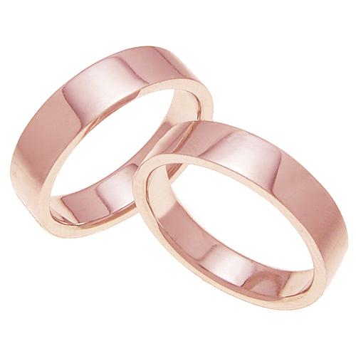 ペアリング 結婚指輪 マリッジリング 平打ちリング 5ミリ K18ゴールド プロポーズ【ペアリング・平打ちリング・5mm幅・K18ピンクゴールド】
