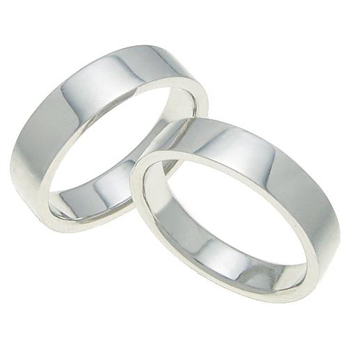 ペアリング 結婚指輪 マリッジリング 平打ちリング 5ミリ K18ホワイトゴールド プロポーズ【ペアリング・平打ちリング・5mm幅・K18ホワイトゴールド】