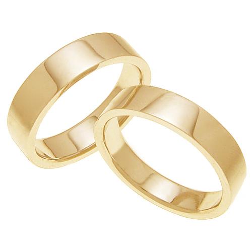 ペアリング 結婚指輪 マリッジリング 平打ちリング 5ミリ K18ゴールド プロポーズ【ペアリング・平打ちリング・4mm幅・K18ゴールド】