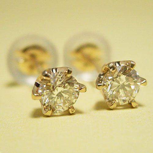 ティファニータイプ6本爪スタッドピアス・K18ゴールド・ダイヤモンド合計0.20カラット