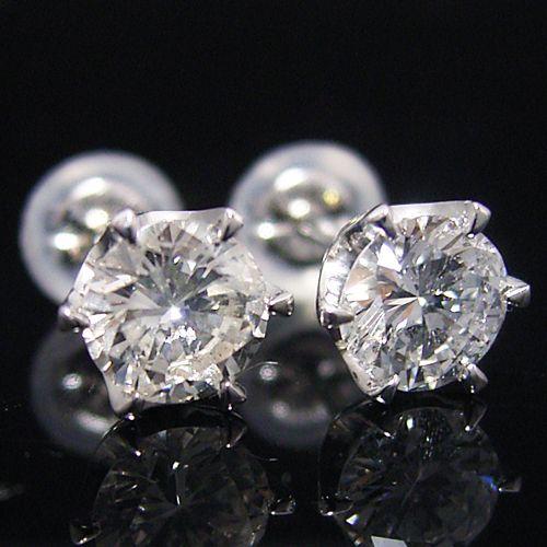 ティファニータイプ6本爪スタッドピアス・プラチナ・ダイヤモンド合計1.0カラット