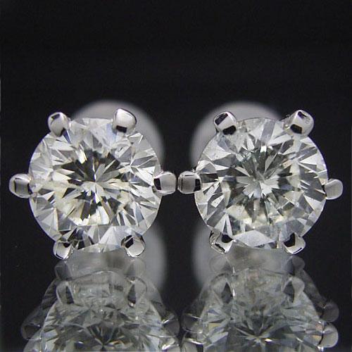 送料無料 長年の経験を積んだ宝石職人が丁寧に製作するスタッドピアス 安定感のあるしっかりとした爪で 装いを選ばず幅広く活用できます 超人気 激安通販ショッピング プラチナ ダイヤモンド合計2.0カラット ティファニータイプ6本爪スタッドピアス