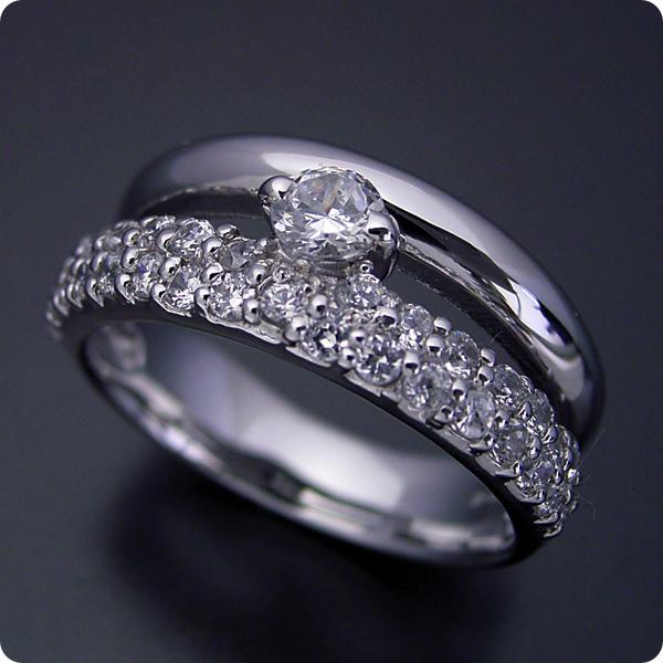 【婚約指輪】エンゲージリング【0.3カラット】一粒【0.3ct】ダイヤモンド【ブライダルジュエリー】プラチナ【結婚指輪】マリッジリング【パヴェセッティングと甲丸リングを組み合わせた婚約指輪】Dカラー・VVS1クラス・Excellentカット・H&Q【宝石鑑定書付き】